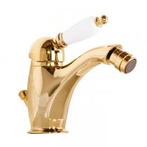 Gattoni Orta Смеситель для биде с низким изливом, с белой ручкой, с донным клапаном, цвет золото 24кт