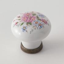 EBAN Decoro Flore, ручка-кнопка для мебели с декором, цвет: белый/керамическая