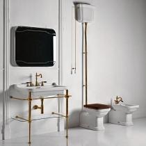 Kerasan Waldorf Унитаз  пристенный удлиненный 65х37см, с высоким бачком, трубой, фурнитура бронза, СИДЕНЬЕ НА ВЫБОР