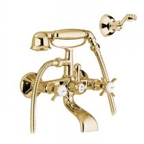 TW London Смеситель для ванны с низким держателем, с лейкой и шлангом, цвет золото