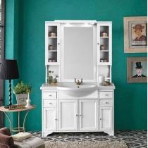 EBAN Gemma База под раковину, с раковиной, зеркалом с пенальчиками 120см, Цвет: bianco decape