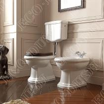 KERASAN Retro Унитаз напольный приставной слив в стену, цвет белый с низким бачком, с фурнитурой цвета хром, СИДЕНЬЕ НА ВЫБОР