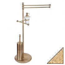 TW Harmony 004, стойка напольная, комбинированная: двойной п/держ, .керам.дозатор (белый), держатель т/б, ёршик, цвет держателя: золото