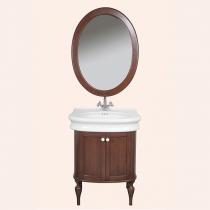 Tiffany World, Palermo 7701, Комплект мебели, с раковиной и зеркалом, ручки: белая керамика, 62*50*h88см, Цвет: орех