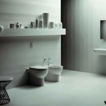 AZZURRA NUVOLA Унитаз напольный приставной 55х35см, слив в стену, с белым сиденьем на выбор