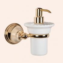 TW Harmony 108, подвесной дозатор для ж/мыла, керамический (белый), цвет держателя: золото