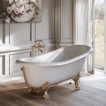 TW 176, ванна 176*80см на лапах, в комплекте сливом-переливом и сифоном, материал: CrystalTech, цвет: белый, фурнитура золото