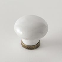 EBAN White Ceramics, ручка-кнопка для мебели, Цвет: белый/керамика