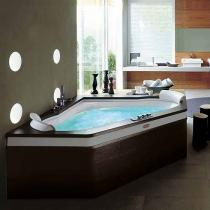 Jacuzzi Aura Corner 160 Top Ванна 160х160хh60 см гидромассажная R+C угловая, смеситель Aura цвет белый-хром. Топ и панель - Венге