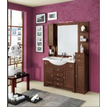 EBAN Eleonora Modular  Комплект мебели, с зеркалом со шкафчиком слева, колонна справа, с раковиной и светильником, 130см, Цвет: NOCE