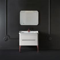 KERASAN Waldorf Комплект мебели, с ножками БРОНЗА, с 1 ящиком и 1 дверцей, 100см, Цвет: bianco matt