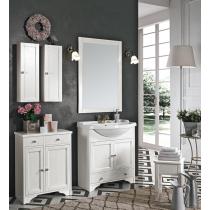 EBAN Carla Комплект мебели, база под раковину с раковиной и зеркалом со светильником Vanessa, тумба и подвесные шкафы цвет белый, 75см,  цвет: bianco decape