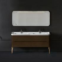KERASAN Waldorf Комплект подвесной мебели 150 см  Цвета: noce с двойной раковиной и ножками ЗОЛОТО