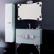 Eurolegno Glamour Комплект мебели, с белой раковиной, зеркалом, ножками, светильником, 90см, Цвет: белый/хром