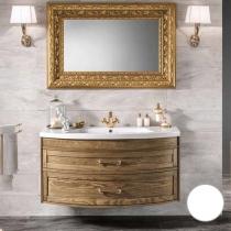 EBAN Gloria Комплект мебели 121см ; база под раковину подвесная,  с 2 выдвижными ящиками, доводчики Blum, с раковиной и зеркалом , ручки хром, 120х37/54хh57см, Цвет: bianco assoluto