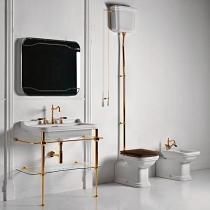 Kerasan Waldorf Унитаз  пристенный удлиненный 65х37см, с высоким бачком, трубой, фурнитура золото, СИДЕНЬЕ НА ВЫБОР