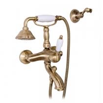 Gattoni Orta Смеситель для ванны с душем, с белой ручкой, цвет бронза
