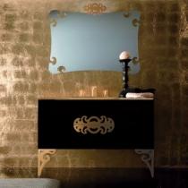 Eurolegno Glamour Комплект мебели, с золотой раковиной, зеркалом, ножками, светильником, 120см, Цвет: черный/золото