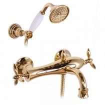 Gattoni Timor Смеситель для ванны с лейкой и шлангом, цвет золото 24кт