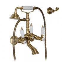 Gattoni  Vivaldi Lever Смеситель для ванны с низким держателем, с душевой лейкой и шлангом, цвет бронза