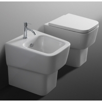 Simas Degrade Унитаз приставной 36.5*46см укороченный с белым сиденьем шарниры хром, микролифт