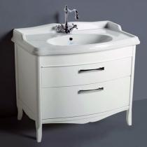SIMAS Arcade Комплект мебели с двумя выдвижными ящиками, фурнитура хром с раковиной, 105см, Цвет: Белый