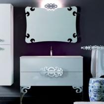 Eurolegno Glamour Комплект мебели, с белой раковиной, зеркалом, ножками, светильником, 120см, Цвет: белый/хром