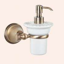 TW Harmony 108, подвесной дозатор для ж/мыла, керамический (белый), цвет держателя: бронза