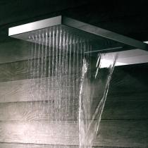 """Gattoni PD Верхний душ настенный с 2-мя режимами: дождь и каскад, 260х555mm, присоединения 1/2""""(без хромотерапии), цвет хром"""