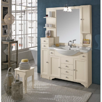 EBAN Eleonora Modular  Комплект мебели, с зеркалом со шкафчиком справа и светильником, полки слева, колонна левая, ручки хром, 130см, Цвет: Pergamon