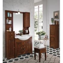 EBAN Eleonora  Modular  Комплект мебели, с раковиной , с тумбой левой, и светильником, зеркалом и шкафчик справа, 107см, цвет noce
