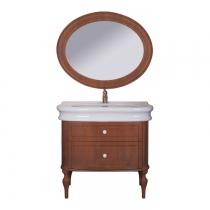 Tiffany World, Palermo 7702, Комплект мебели с раковиной и зеркалом, ручки: белая керамика, 90*54*h88см, Цвет: орех
