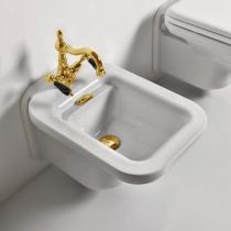 Kerasan Waldorf Биде подвесное с 1 отв. под смеситель 55х37см, белое, цвет заглушки - хром, с заглушкой и сифоном, цвет золото