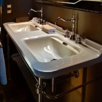Kerasan Waldorf Раковина керамическая двойная 150х55см, c 3 отверстиями под смеситель, белая