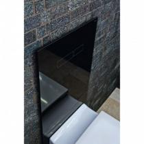 Комплект TECELux для установки стандартного унитаза с верхней панелью из черного стекла с механическим блоком управления, стекло черное, клавиши хром