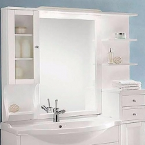 EBAN Eleonora Modular SX Зеркало в раме 107*104h со шкафчиком cлева и полочками справа, цвет: bianco decape