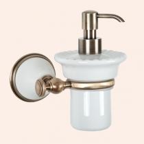 TW Harmony 108, подвесной дозатор для ж/мыла, керамический (белый), цвет держателя: белый/бронза