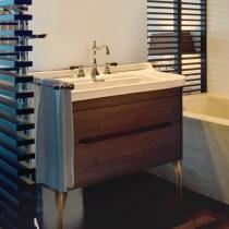 KERASAN Waldorf Комплект напольной мебели 80см, ножки ЗОЛОТО, с 1 ящиком и 1 дверцей, Цвета: noce