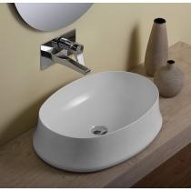 Умывальник-чаша Simas Sharp 60x42 см, овальный, без отверстия под смеситель, белый, SH04