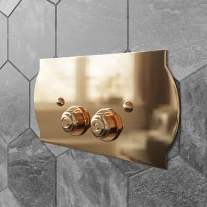 TW 300.3, клавиша смыва для бачков Geberit UP320, 33*2,5*h17, установка со смещением вправо 14мм, материал: латунь, цвет: золото