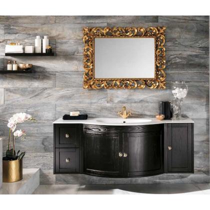 EBAN Stefania комплект мебели, база под раковину ,  доводчики Blum, с раковиной и зеркалом золото, 120см, Цвет: ante Nero
