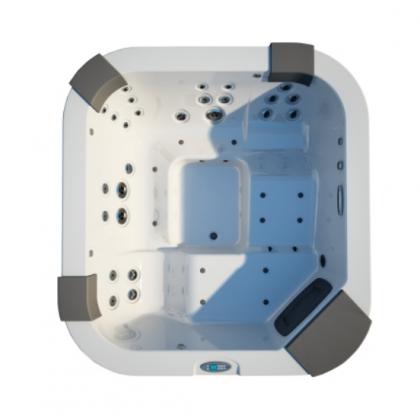 JACUZZI Santorini Pro Минибасссейн 230x215x90 см, LED подсв., водопад, подгол. 3 шт. LCD пульт упр., система обр. воды у/ф-м Clear Ray, возд. массаж, аромотерапия Крышка чехол, с эл. нагрев. цвет акрила №65 Platinum/внеш. панель Teak