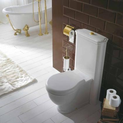 GLOBO Paestum Унитаз напольный пристенный 57*38см с бачком и механизмом цвет золото, СИДЕНЬЕ НА ВЫБОР