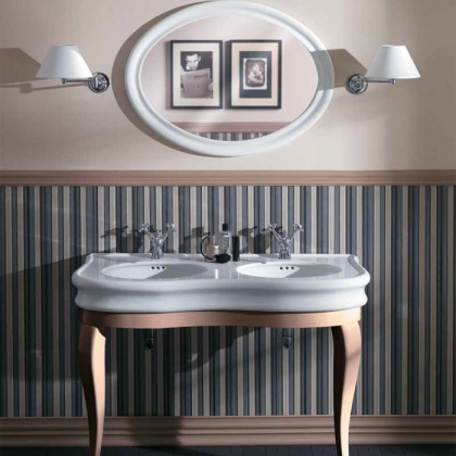 SIMAS Lante Комплект мебели, консоль с двойной раковиной. зеркало овальное, 120см, Цвет: tortora
