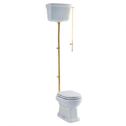 GSI Old Antea Унитаз напольный с высокой трубой 56х37 см, слив в стену, фурнитурой цвета золото, СИДЕНЬЕ НА ВЫБОР
