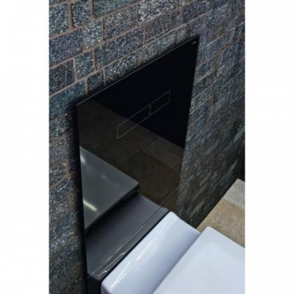 Комплект TECELux для установки стандартного унитаза с верхней панелью из черного стекла с механическим блоком управления  и нижней панелью стекло черное
