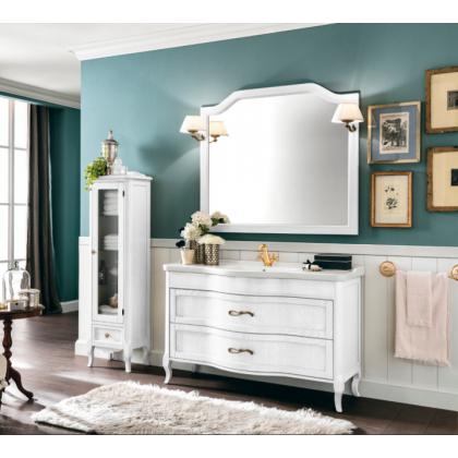 EBAN Rachele Комплект мебели с базой, раковиной, доводчиком Blum, ручки бронза, с зеркалом Sagomata, 130см, Цвет: BIANCO ASSOLUTO