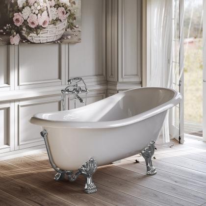 TW 176, ванна 176*80см на лапах, в комплекте сливом-переливом и сифоном, материал: CrystalTech, цвет ванны белый, фурнитура хром
