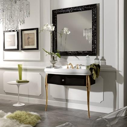 KERASAN Retro Комплект мебели, ножки: золото, ручки: кристалл/кольцо-золото, 100см, Цвет: черный глянец,