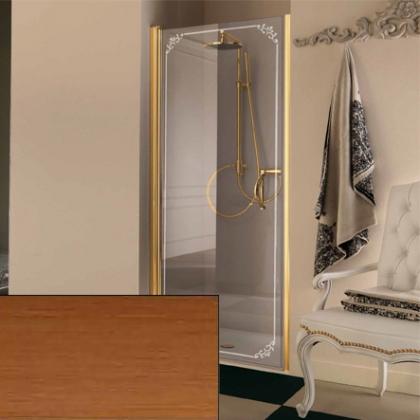 SAMO FDT Душевая дверь в нишу 76,5-80х190см, проф. бронза, прозрачное стекло+ матов. декор TREVI c покрытием StCl, ручка бронза